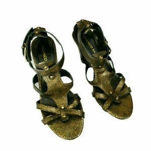 Franco Sarto metallic gold heeled sandals sz 8